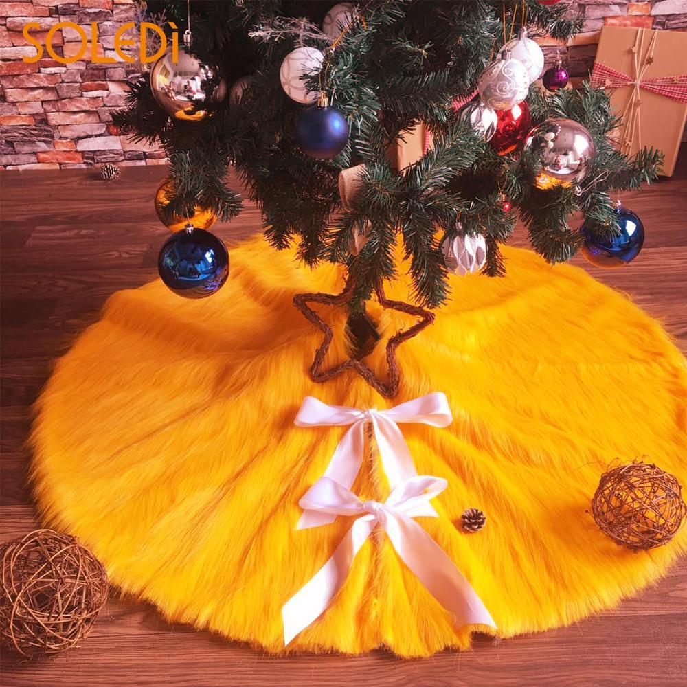 Christmas Tree Dress Christmas Tree Skirt High-Grade Christmas Stocking Floor Mat Golden Brown Home Decoration Long Plush