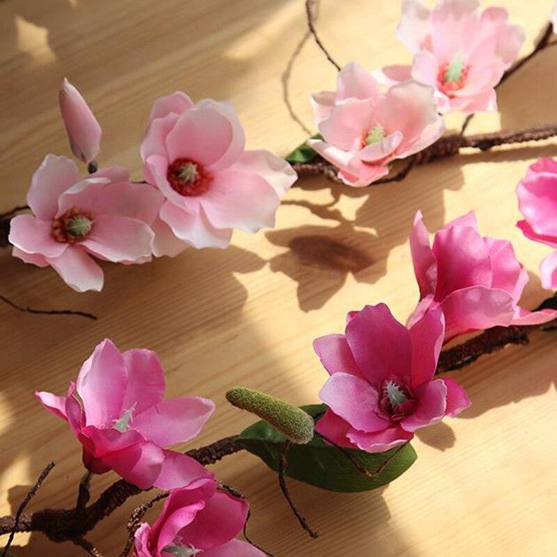 20 Pcs Aritificial Magnolia Vite Vite Fiori di Seta Decorazione di Cerimonia Nuziale Viti Della Parete Del Fiore di Orchidea Rami di Albero di Orchidea Corona - 2