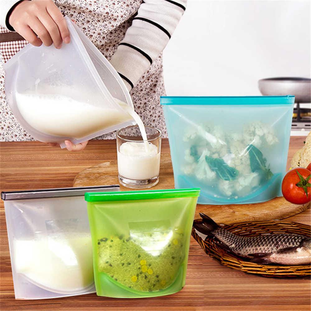 4 Pcs/set Reusable Refrigerator Fresh Bags Kitchen Food Sealing Storage Bag Silicone Fruit Meat Ziplock Kitchen Organizer