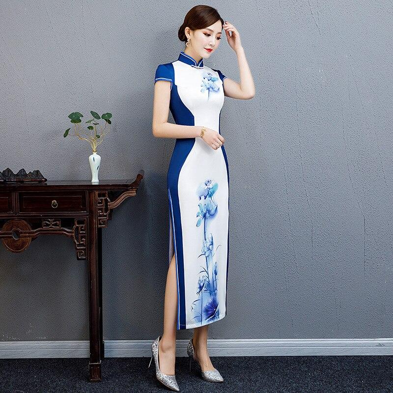 51ef2e8ea3dc97 S Robes Cheongsam 2 Chinois Bouton Impression xxl 1 Élégant Blanc ...