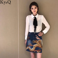 Ky Q 2017 Luxury Brand Short Jean Skirt Women Blue Denim Mini Skirt High Waist With