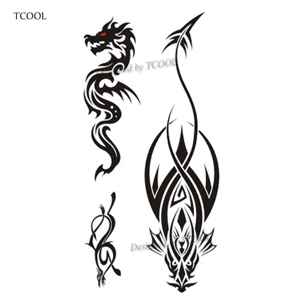 HXMAN Dragon Women Temporary Tattoo Sticker Tattoos for Waterproof Men Fashion Body Art Kids Hand Fake Tatoo 10.5X6cm A-216
