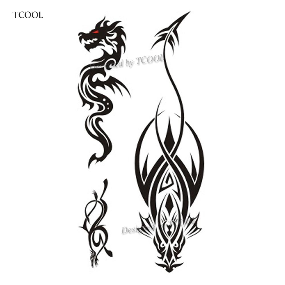 Womens Temporary Tattoos: TCOOL Dragon Women Temporary Tattoo Sticker Tattoos For