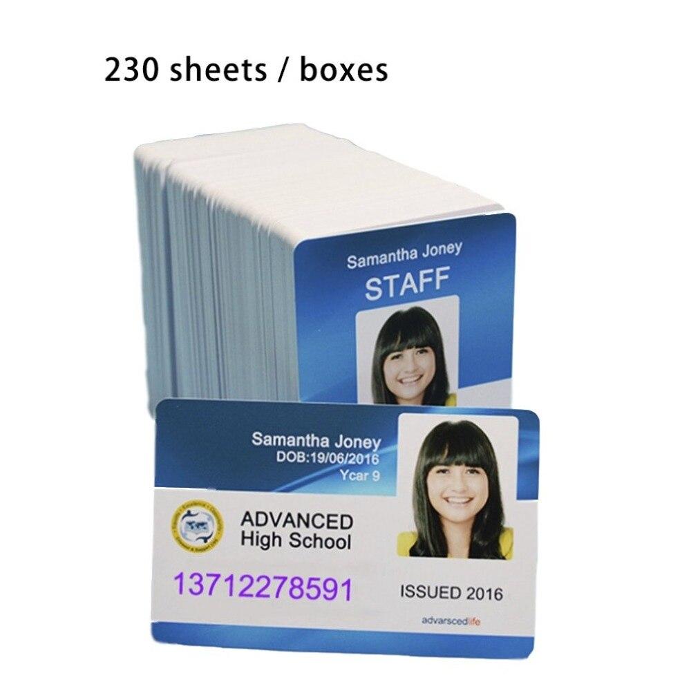 Carte pvc blanche imprimable à jet d'encre pour carte de membre carte d'identité de club imprimée par les imprimantes à jet d'encre Epson ou Canon 230 pièces