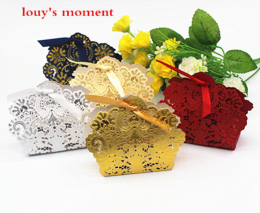 Whole 100 X Wedding Candy Box Gold Red White Laser Cut Favor