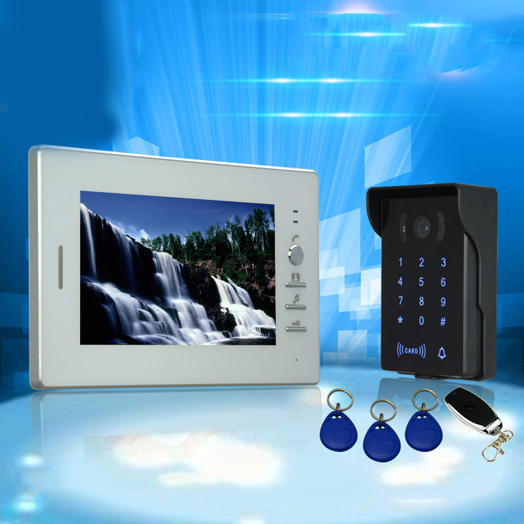 7 Inch Password ID Card Video Door Phone Home Access Control System Wired Video Intercome Door Bell 2 4 inch 500 user time attendance finger print password id card access control system