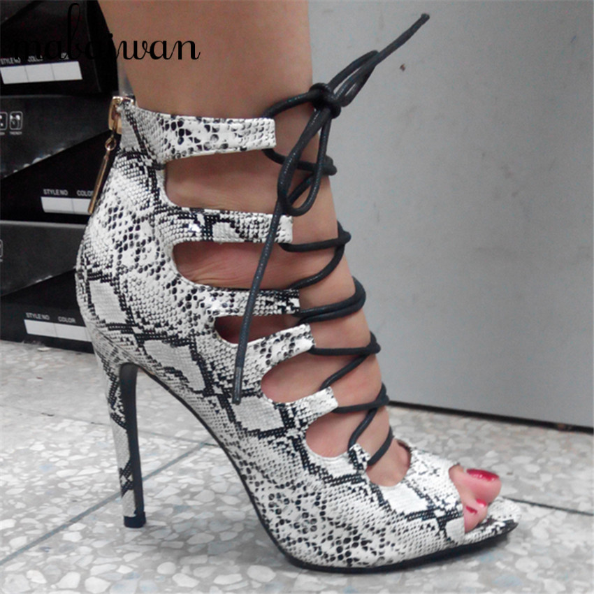 ФОТО Fashion Women Peep Toe Gladiator Sandals Cut out Ankle Boots Lace Up Ladies High Heels Cross Tie Snakeskin Summer Short Booties