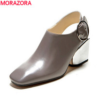 MORAZORA Genuine Leather Shoes Women Pumps Square Toe Slingback Buckle Black Apricot Summer Office Lady Dress