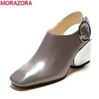 MORAZORA Genuine Leather Shoes Women Pumps Square Toe Slingback Buckle Black Apricot Summer Office Lady Dress