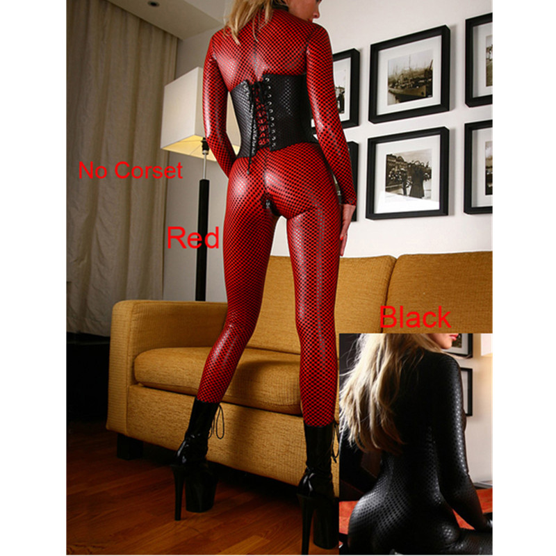 Women Black Red Sexy Faux Leather Latex Catsuit Plus Size Clubwear Sexy Jumpsuit With Zipper Crotch Sex Fetish Bondage Costumes