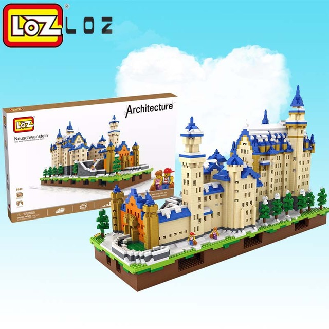 LOZ Diamond Blocks Neuschwanstein DIY New Swan Stone Castle 3D Model technic Educational Quiz Christmas Gift Toys for Children