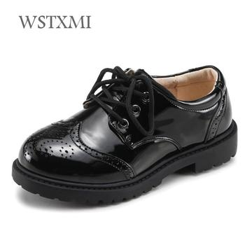 Children Genuine Leather Shoes Boys Girls Loafers Moccasins Wedding Dress  School Shoes Black Kids Flat Dancing Lace Up Casual bbd434416f4f