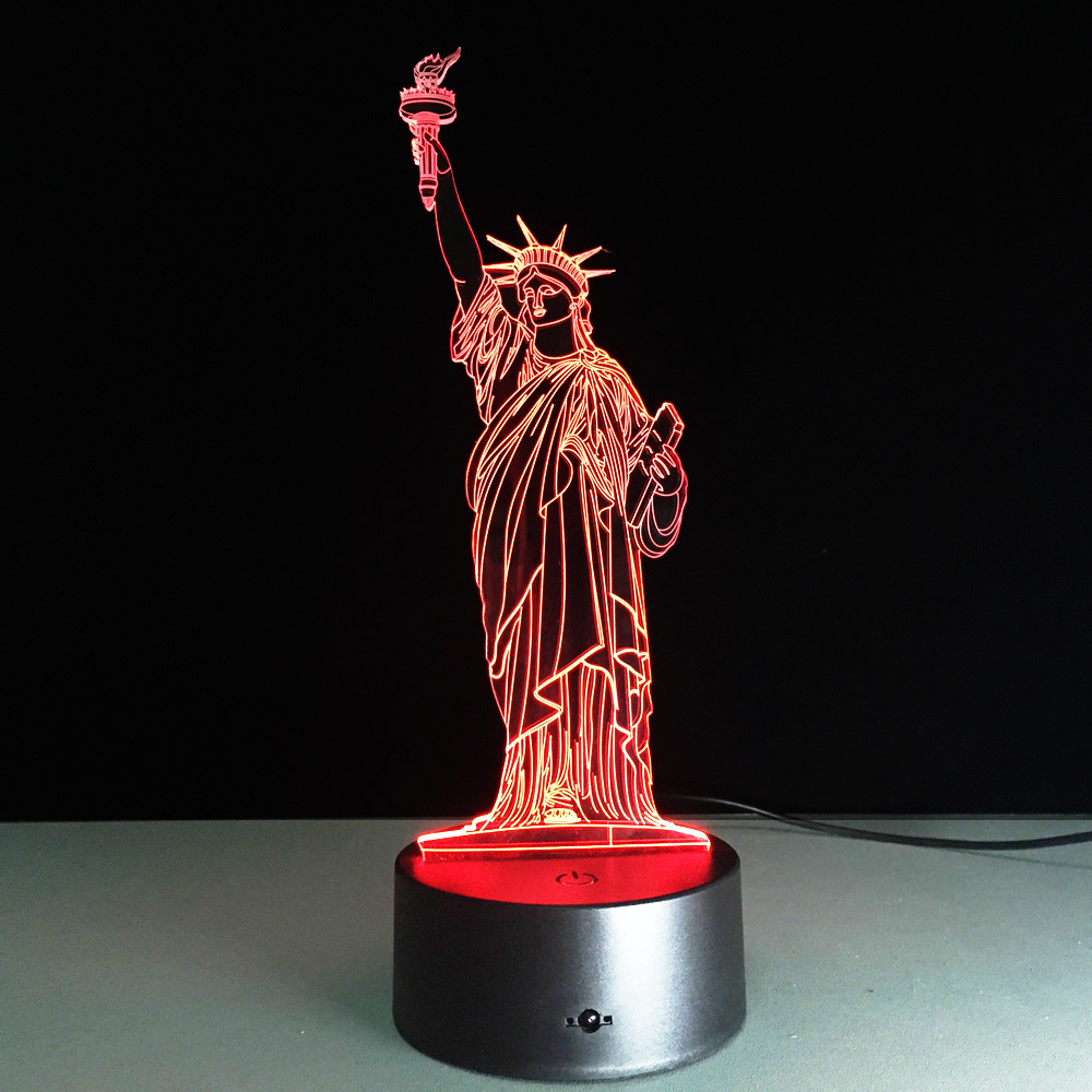 cheap 3D Illusion Novelty Romantic Statue of Liberty LED Colorful Night Light USB Bedside Bedroom Table Desk Lamp Decor holiday gift pic,image LED lamps offers