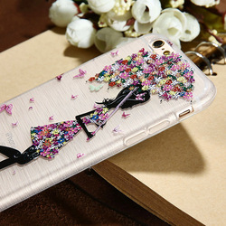 CASIER Girl Flower Case For iPhone 7 6 6s Case iPhone 5s se Cases For Samsung Galaxy S7 S6 Edge Embossed Soft TPU Cover Shell 2