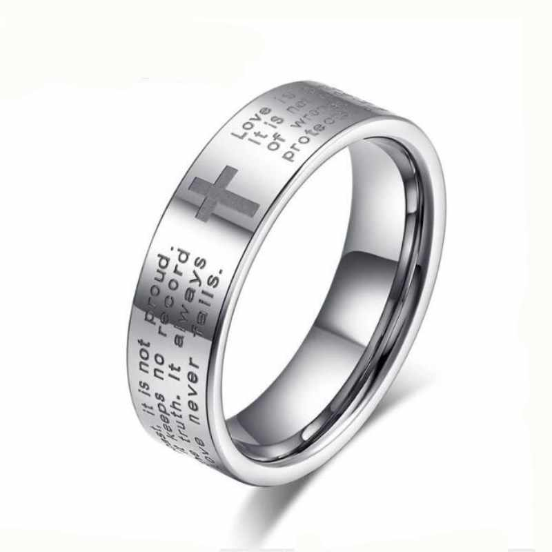Fashion Bible Text Jesus Tattoo Men Ring Rings For Women Titanium Steel Jewelry Gift 4RD236=RD140