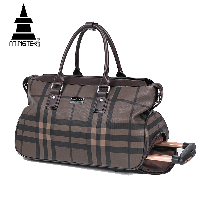 d4fb42b217f Waterproof PU Duffle Bag Trolley Hand Luggage Fashion Plaid 20 Inch Rolling  Travel Bag Luggage On Wheels Women Weekend Tote Bags-in Underwear from  Mother ...