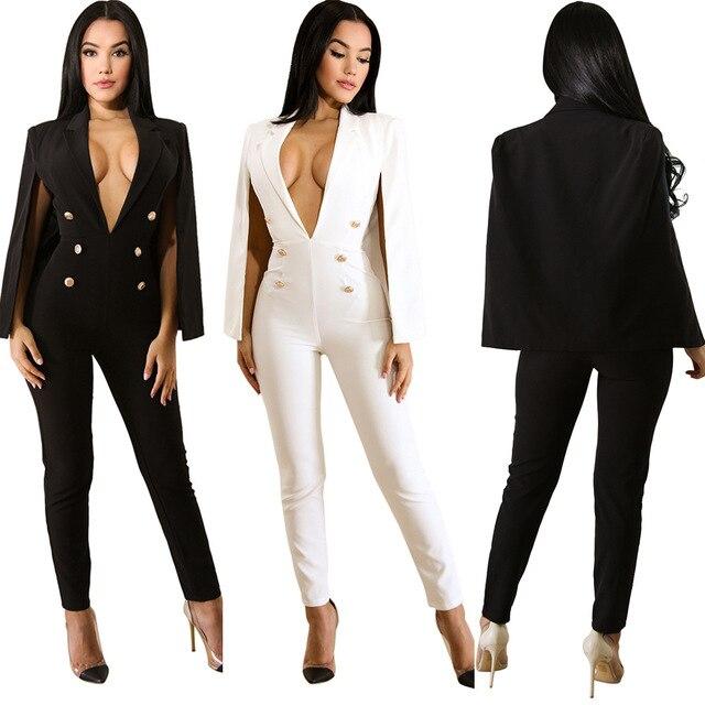 2af300f1d2c iRicheraf Fashion Women Cape Sleeve Surplice Wrap Tailored Overalls Jumpsuit  V Neck Split Sleeve Office Lady
