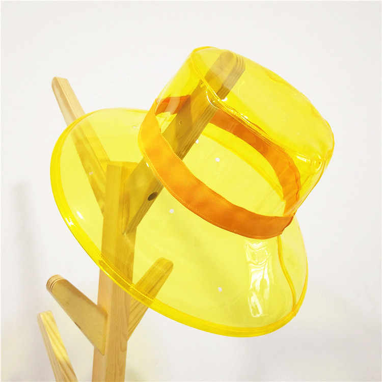 Transparente sólida de las mujeres sombreros en forma de cubo tapas chicas Gorras damas de playa visera de sol impermeable sombrero de lluvia de plástico amplia gorros con visera