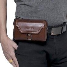 2018 bolsa del teléfono móvil para iPhone 6S 7 8 plus Cartera de cuero de vaca auténtica Universal funda para Samsung Galaxy S8 S9 Plus bolsa de cinturón