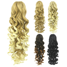Soowee 60cm Long Curly Black To Brown Ombre Hair Extensions Pony Tail Synthetic Hair Claw Ponytails Black Hair on Clips Hairpins