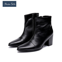 Christia Bella New Italian Genuine Leather Men Ankle Boots Fashion High Heel Men Dress Boots Pointed Toe Motorcycle Boots Black