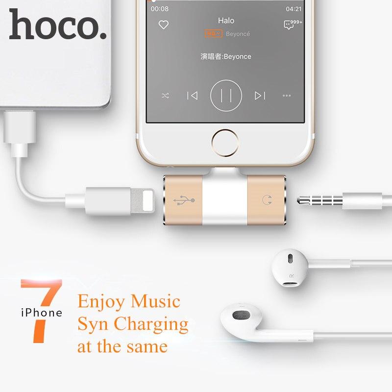 imágenes para Nueva HOCO LS1 Digital Audio Converter Adaptador de Auriculares Syn 2A Adaptador de Carga Del Teléfono Móvil para El Iphone 7 7, Además de Disfrutar de música