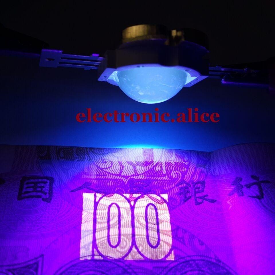 10 Вт высокое Мощность светодиодные лампы ультрафиолетовый УФ 395nm 900ma 12 В + 60 градусов Лен 5 шт.