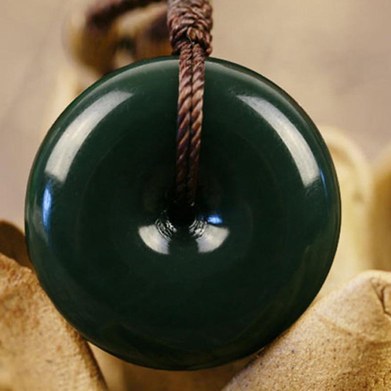 Натуральный зеленый Хотан нефриты камень кулон резной круглый мира пряжкой кулон Цепочки ...