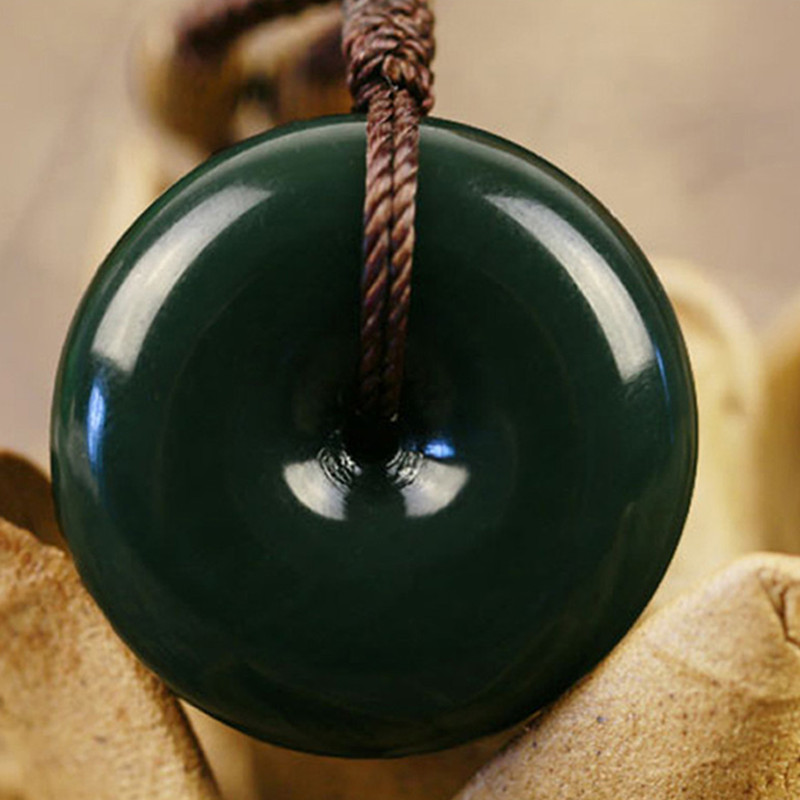 Natural Green HETIAN Jades Stone Pendant Carved Round Peace Buckle Pendant Necklace Gift Men Women Nephrite