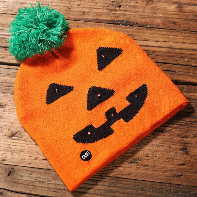 Glowing Halloween Party Knit Hat Ghost Pumpkin Skull LED Halloween Hat Luminous Knitted Hat Party Supplies Stretchy Pumpkin Hat