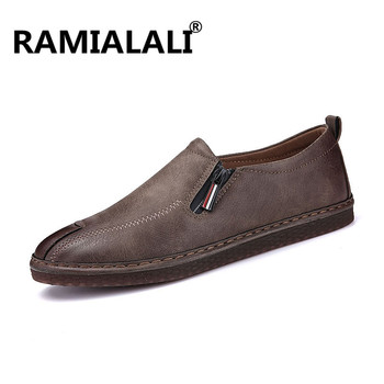 Ramialali Fashion Mens Shoes Slip On Men Loafers Handmade Men Casual Shoes Men Leather Shoes For Men Flats Zapatos Hombre slip-on shoe