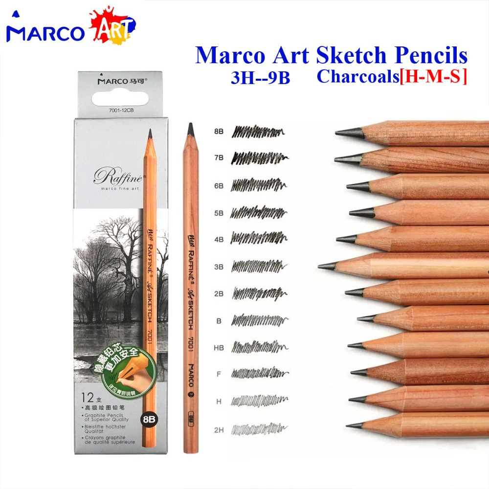 Marco raffine sketch drawing pencils set 9b 8b 7b 6b 5b 4b 3b 2b b hb h 2h 3h standard pencil for sketching office school gift