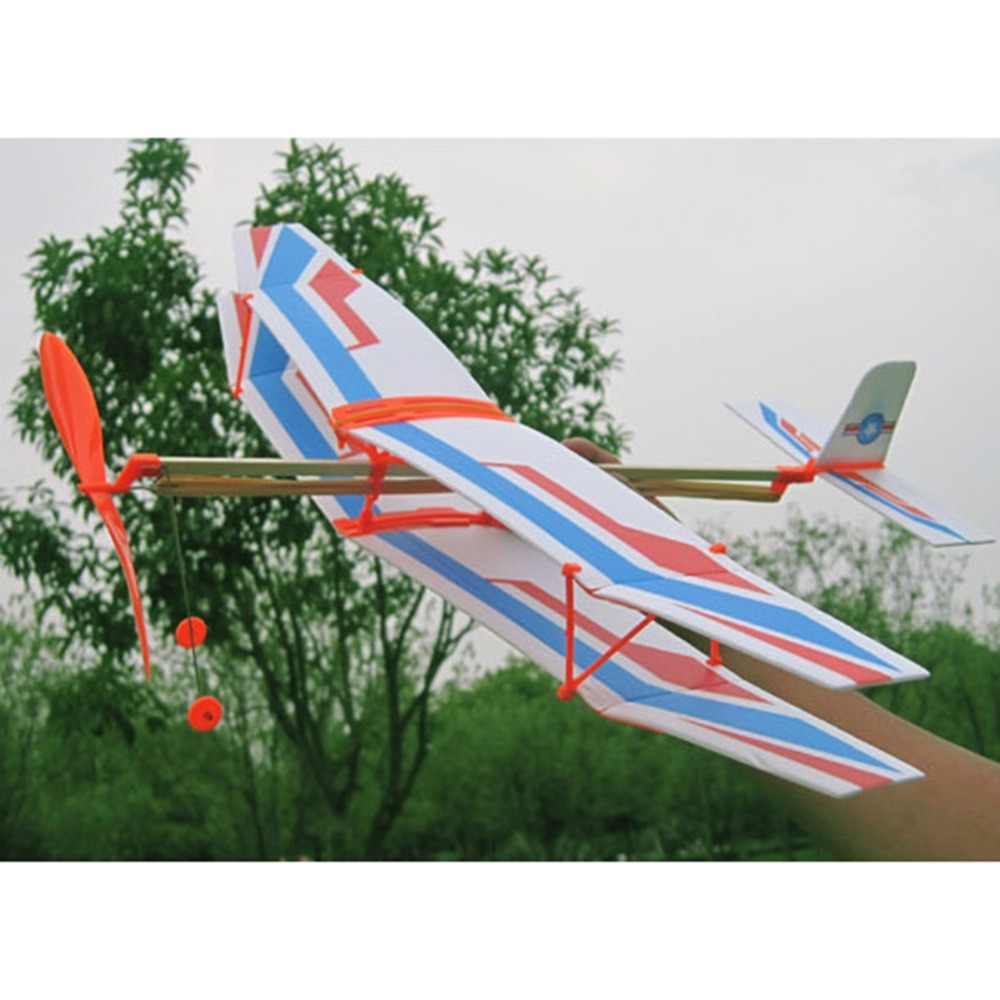 DIY Rubber Powered Biplane Aircraft Glider Toy Kid Education Glider Biplane Kit Model Toys for Children Baby Assemble Plane