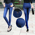 Autumn Winter Fashion Blue Mid Waist Jeans Women Clothing Brand Plus Size Elastic Washed Skinny Casual Denim Pencil Pants