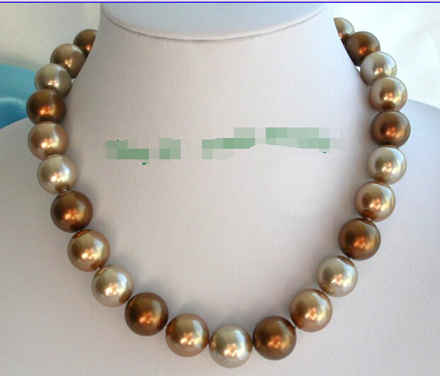 Free shipping@@@@@ wonderful big 14mm round coffee champagne south sea shell pearls necklace n265