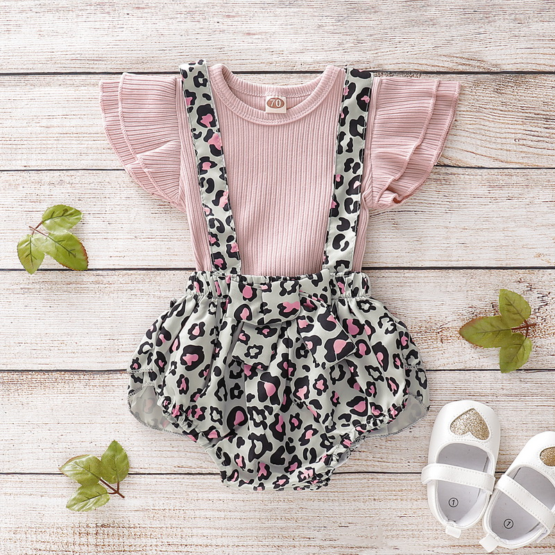 Ruffle Sleeves Cute Girls Baby Set Summer Clothes Baby Girl Outfits Flower Toddler Girl Clothing Set 2Pcs Tops+Jumpsuits D30