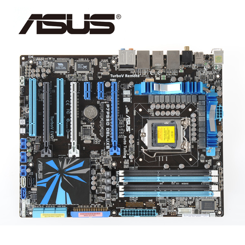 LGA 1156 For Intel P55 ASUS P7P55D Deluxe Motherboard 3xPCI-E X16 DDR3 2200Mhz OC P7P55D-Deluxe Desktop Mainboard PCI-E X16 Used