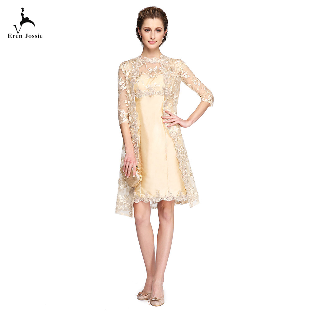 Eren Jossie Latest Fashion Mother of the Bride Groom Dresses Knee Length Champagne Lace Jacket Satin kurti Sheer Jewel Neck