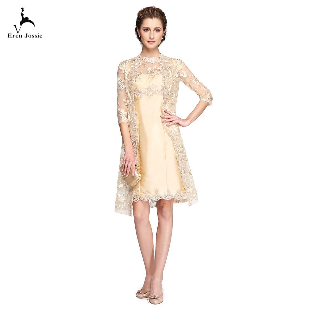 Eren Jossie Latest Fashion Mother of the Bride Groom Dresses Knee Length Champagne Lace Jacket Satin kurti Sheer Jewel Neck