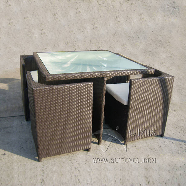 5 pcs all weather plastic rattan garden dining sets with chair and