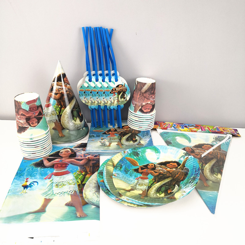 91pcs Ocean Moana Disposable Tableware sets TableCloth cups Paper plate Napkin Flag Kids Boy Birthday Party Decoration