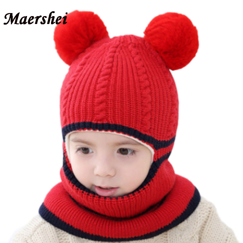 MAERSHEI 2018 New Baby Girl Balaclava Mask Fur Hat Winter Wool Warm Velvet Beanies Knitted Cap Kids Pompom Gorras