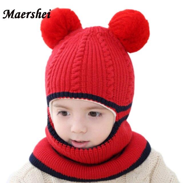 2460e114ceecb MAERSHEI 2018 new baby girl Balaclava Mask Fur hat winter Wool warm velvet  Beanies Knitted Cap Kids pompom Gorras