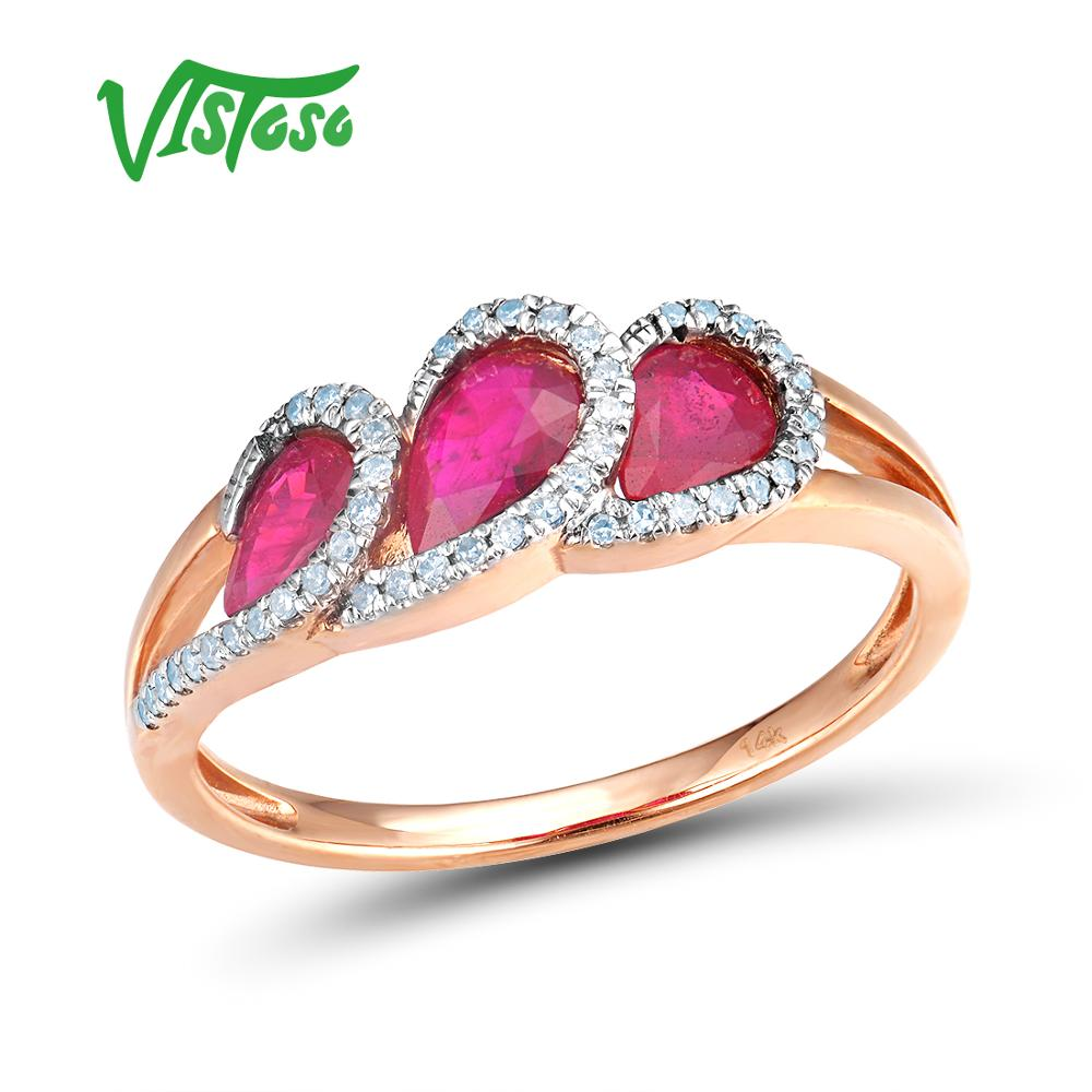 VISTOSO 14K 585 Rose Gold Fancy Ruby Glittering Diamond Ring For Women Wedding Engagement Anniverary Trendy Luxury Fine Jewelry