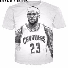0beb43d7d34e PLstar Cosmos 2017 summer new Fashion T-shirts harajuku style t shirt Lebron  James 3d