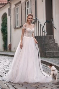 Image 2 - Scoop Tulle Neckline Splice Beading Lace Applique Short Sleeves A line Wedding Dress Sweep Train Lace up Back Bridal Dress
