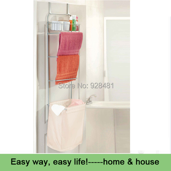 Bath Room Over Door Laundry Sorter With Towel Bars Hamper