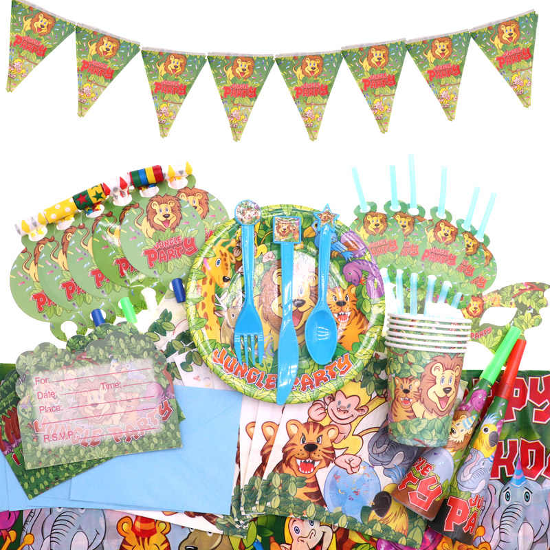 Джунгли вечерние наборы посуды Лев украшение на день рождения для мальчиков детская одноразовая салфетка бумажные тарелки стаканчики вечерние принадлежности