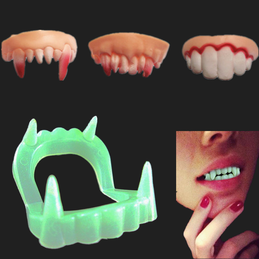 4PCS Halloween Cosplay Makeup Party Zombie Vampire Teeth Prank Freak Luminous False Teeth Novelty Funny Gags Practical Jokes