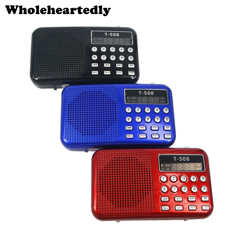 Mini Portable Dual Band Genopladeligt Digital LED-displaypanel Stereo FM Radio Højttaler USB TF Mirco til SD Card MP3 Musikafspiller
